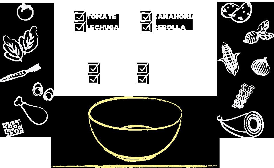 Tomate, lechuga, zanahoria, huevo duro, papa, remolacha, choclo, cebolla morada, pollo, jamón, queso, panceta
